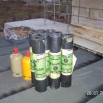 Garagendach mit der ersten Lage der Dachbahnen
