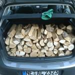 Birkenholz noch schön geordnet im Kofferraum