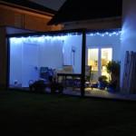 LED-Kette auch an der Terrassenüberdachung
