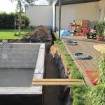 Baugrube und Leitungsgraben bereit für Verrohrung