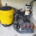 Die Pooltechnik (Filter und Pumpe) in Betrieb